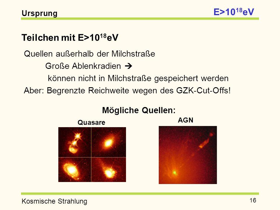 E>1018eV Teilchen mit E>1018eV Quellen außerhalb der Milchstraße