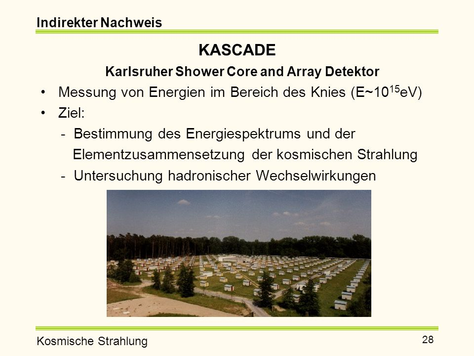 KASCADE Karlsruher Shower Core and Array Detektor