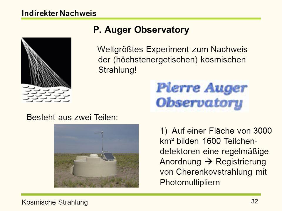 Indirekter Nachweis P. Auger Observatory. Weltgrößtes Experiment zum Nachweis der (höchstenergetischen) kosmischen Strahlung!
