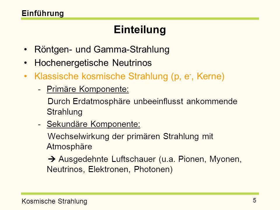 Einteilung Röntgen- und Gamma-Strahlung Hochenergetische Neutrinos
