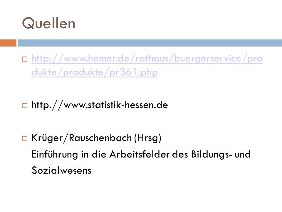 Quellen http://www.hemer.de/rathaus/buergerservice/pro dukte/produkte/pr361.php. http.//www.statistik-hessen.de.