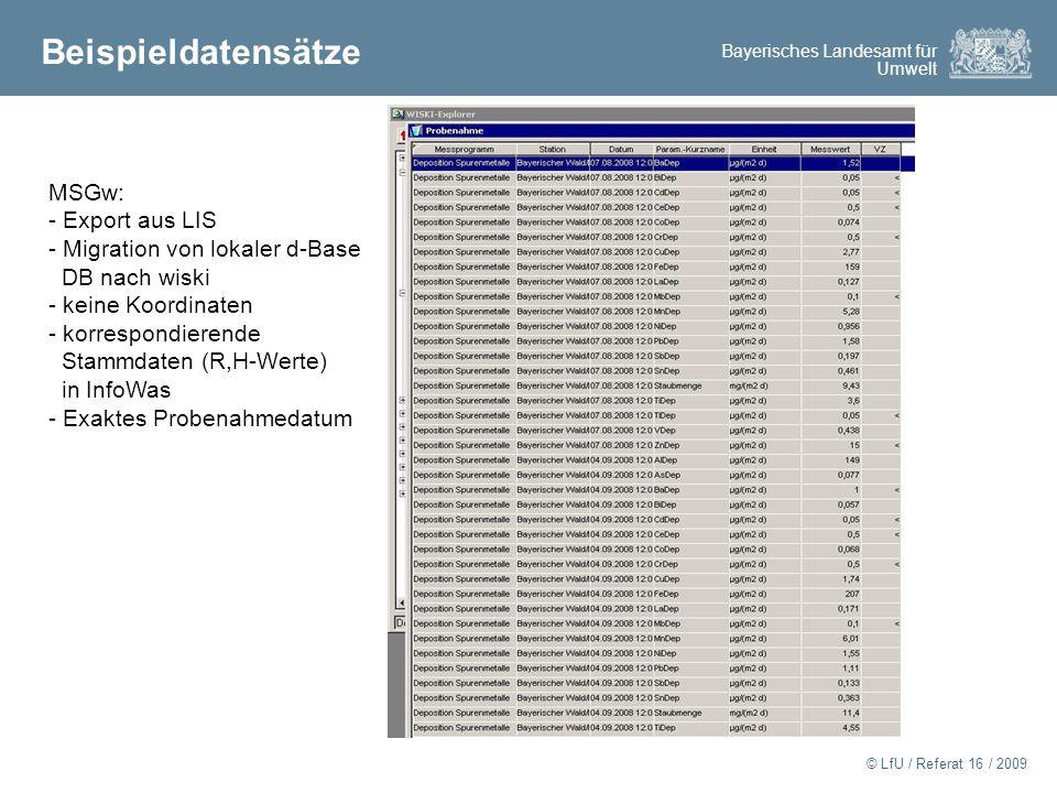 Beispieldatensätze MSGw: Export aus LIS Migration von lokaler d-Base