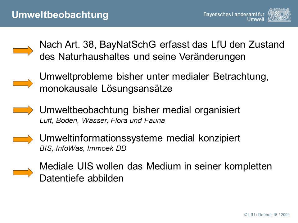 Nach Art. 38, BayNatSchG erfasst das LfU den Zustand