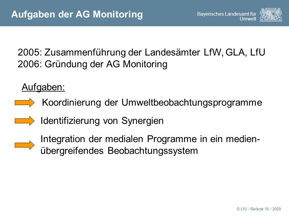 Aufgaben der AG Monitoring