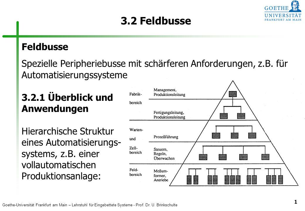 3.2 Feldbusse Feldbusse. Spezielle Peripheriebusse mit schärferen Anforderungen, z.B. für Automatisierungssysteme.