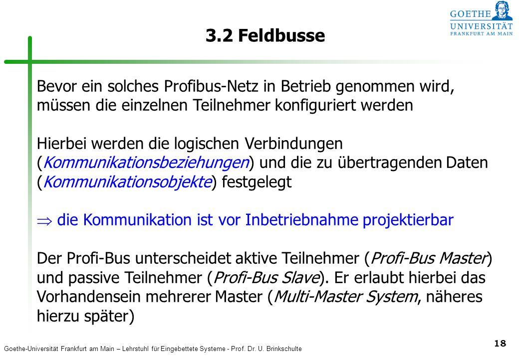 3.2 Feldbusse Bevor ein solches Profibus-Netz in Betrieb genommen wird, müssen die einzelnen Teilnehmer konfiguriert werden.