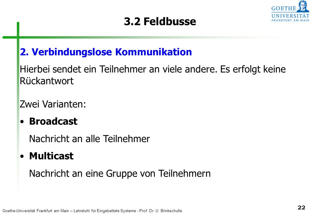 3.2 Feldbusse 2. Verbindungslose Kommunikation
