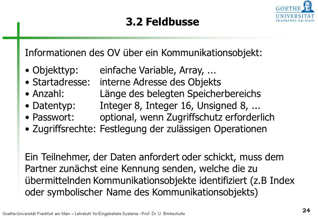 3.2 Feldbusse Informationen des OV über ein Kommunikationsobjekt: