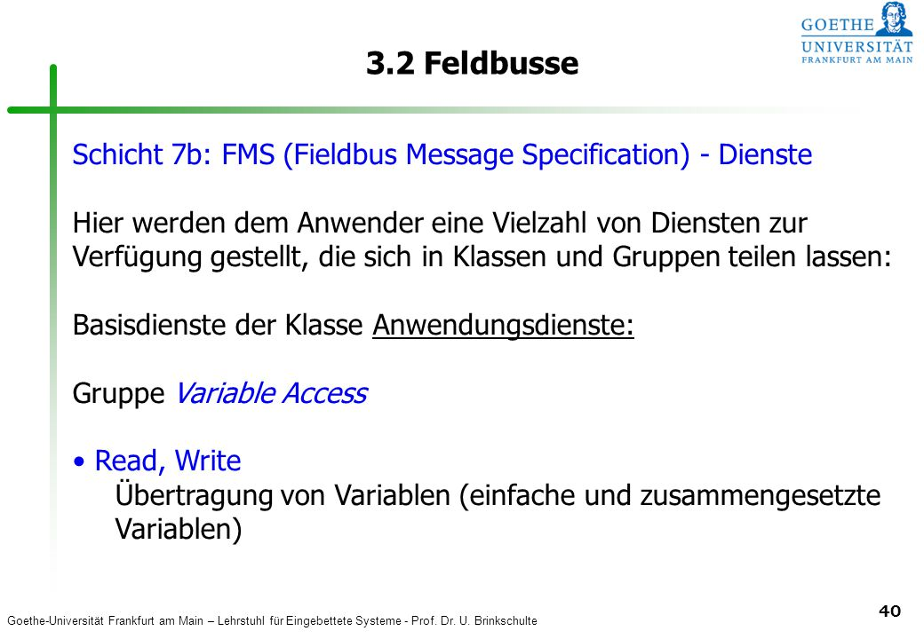 3.2 Feldbusse Schicht 7b: FMS (Fieldbus Message Specification) - Dienste.