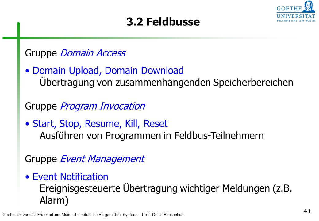 3.2 Feldbusse Gruppe Domain Access Domain Upload, Domain Download