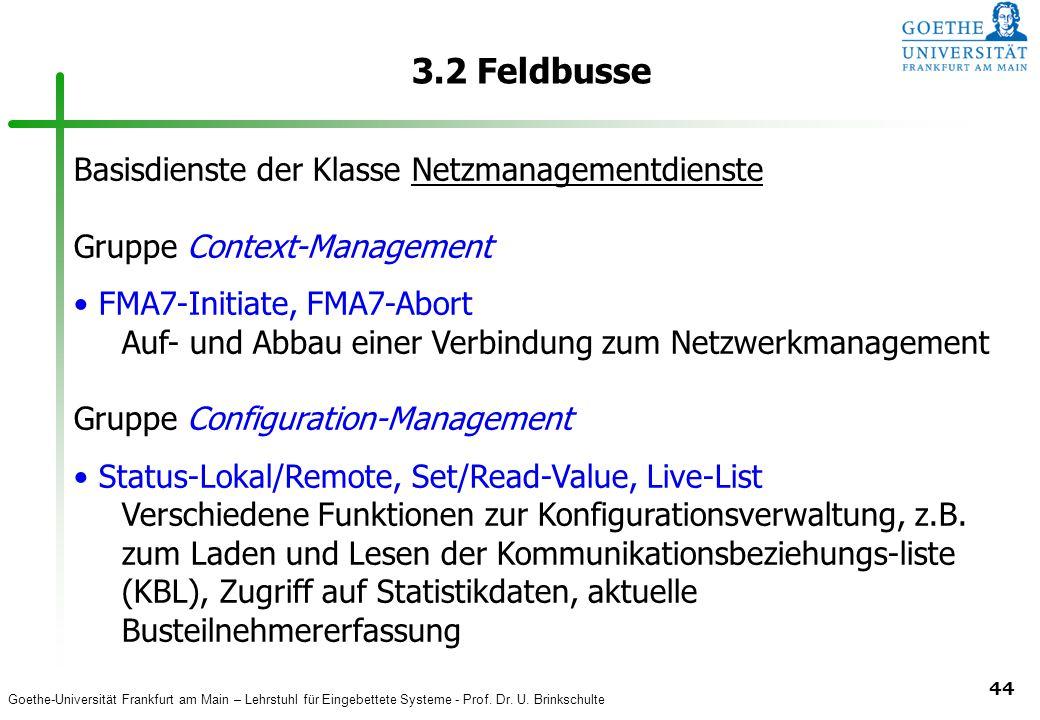 3.2 Feldbusse Basisdienste der Klasse Netzmanagementdienste