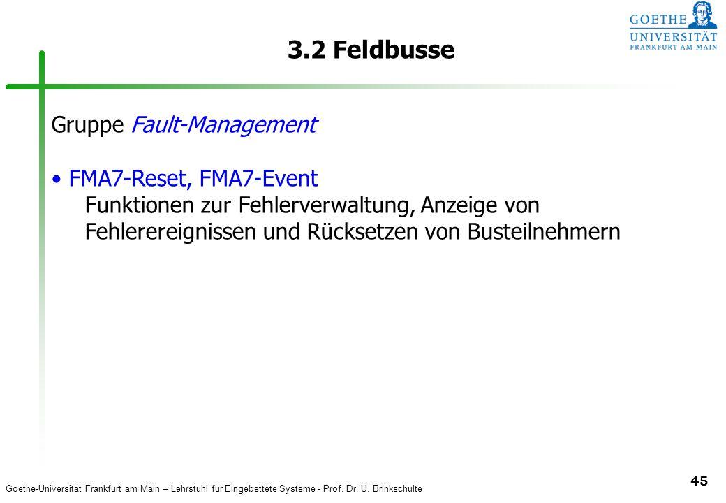 3.2 Feldbusse Gruppe Fault-Management FMA7-Reset, FMA7-Event
