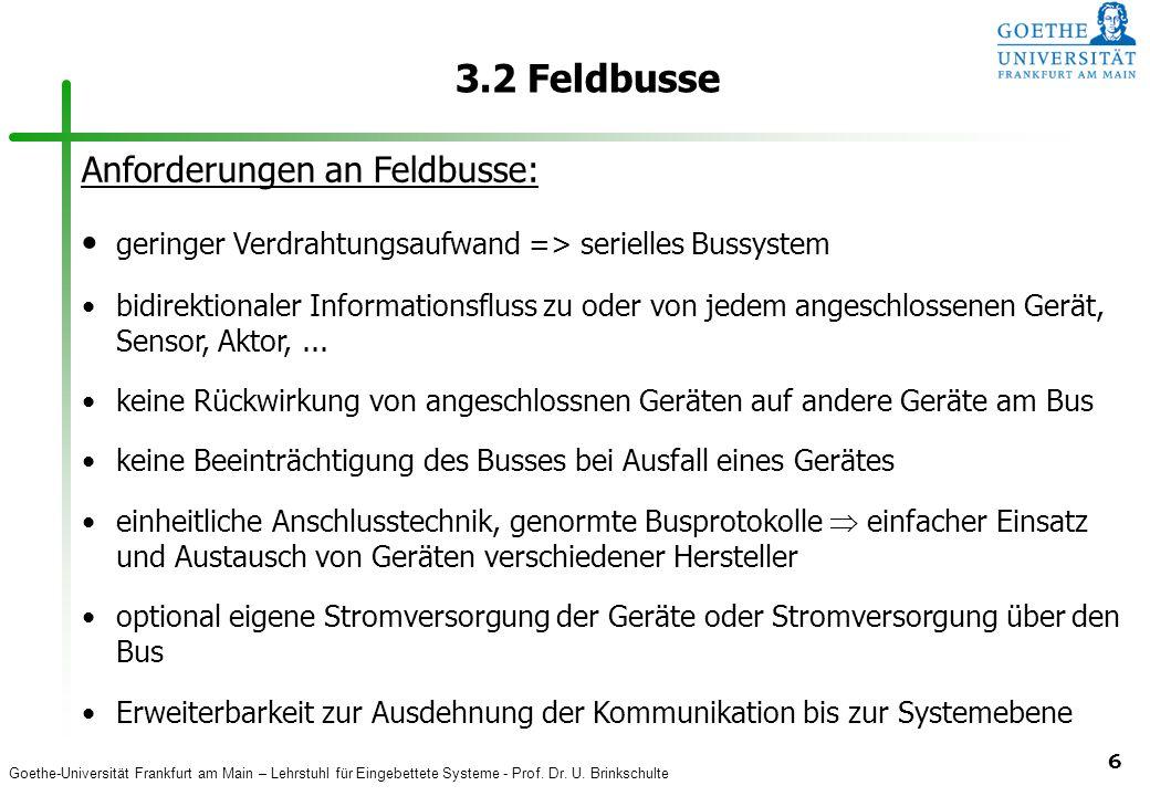3.2 Feldbusse Anforderungen an Feldbusse: