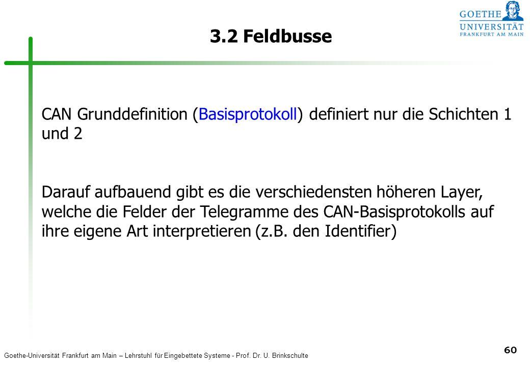 3.2 Feldbusse CAN Grunddefinition (Basisprotokoll) definiert nur die Schichten 1 und 2.