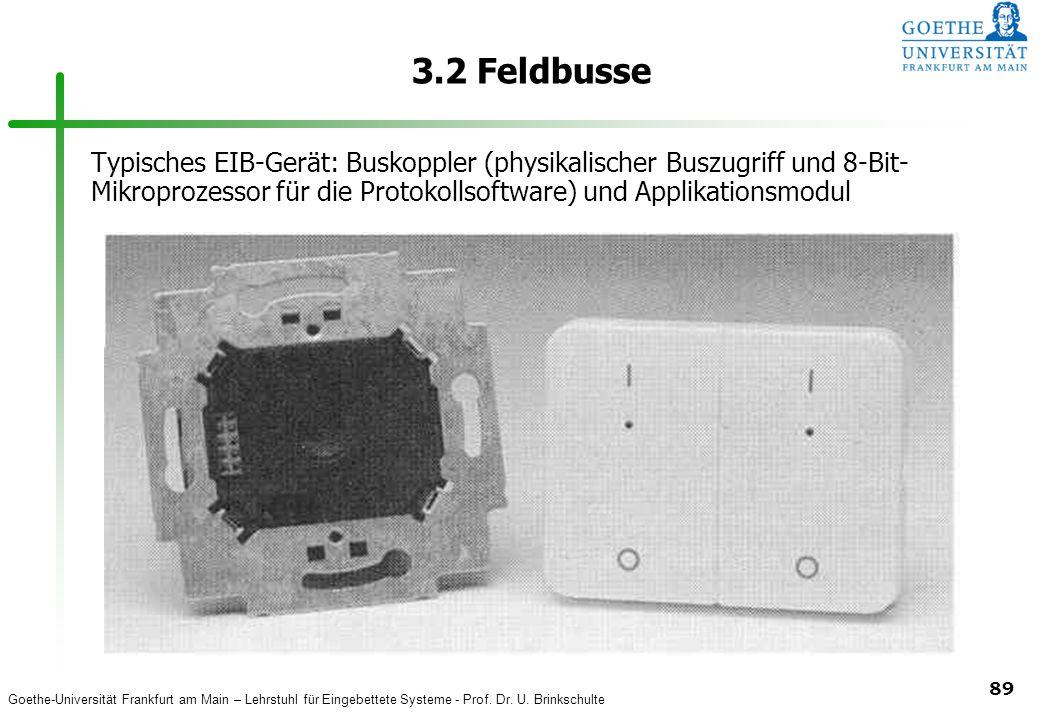 3.2 Feldbusse Typisches EIB-Gerät: Buskoppler (physikalischer Buszugriff und 8-Bit-Mikroprozessor für die Protokollsoftware) und Applikationsmodul.
