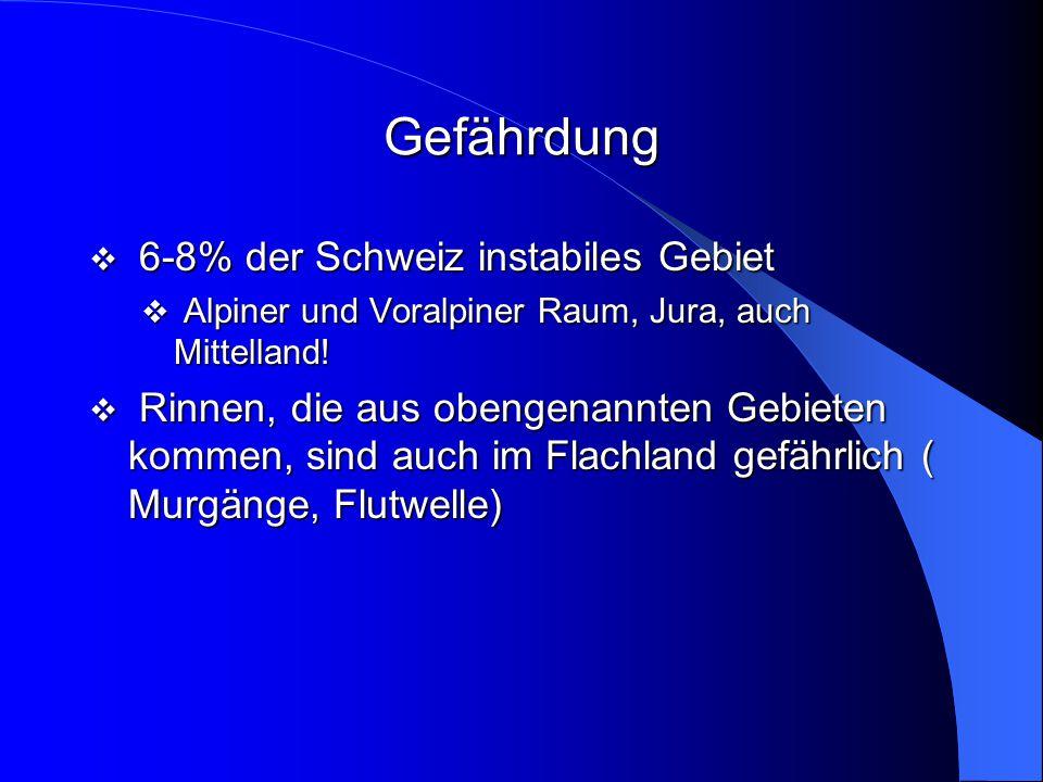 Gefährdung 6-8% der Schweiz instabiles Gebiet