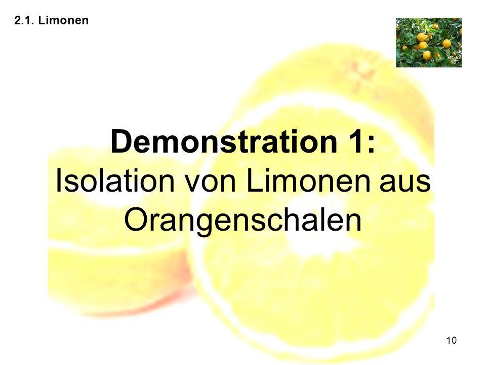 Demonstration 1: Isolation von Limonen aus Orangenschalen