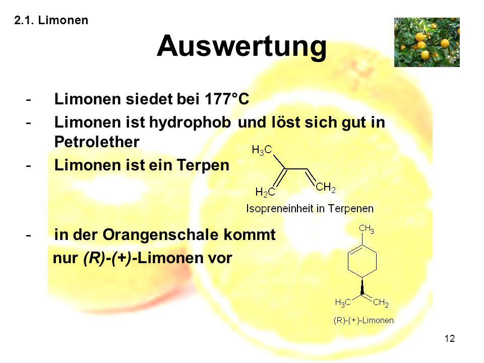 Auswertung Limonen siedet bei 177°C