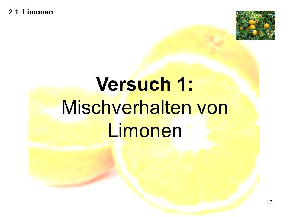 Versuch 1: Mischverhalten von Limonen