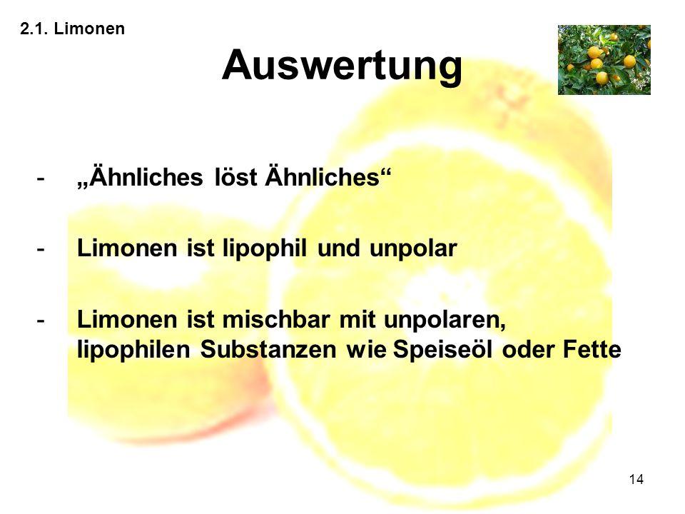 """Auswertung """"Ähnliches löst Ähnliches Limonen ist lipophil und unpolar"""
