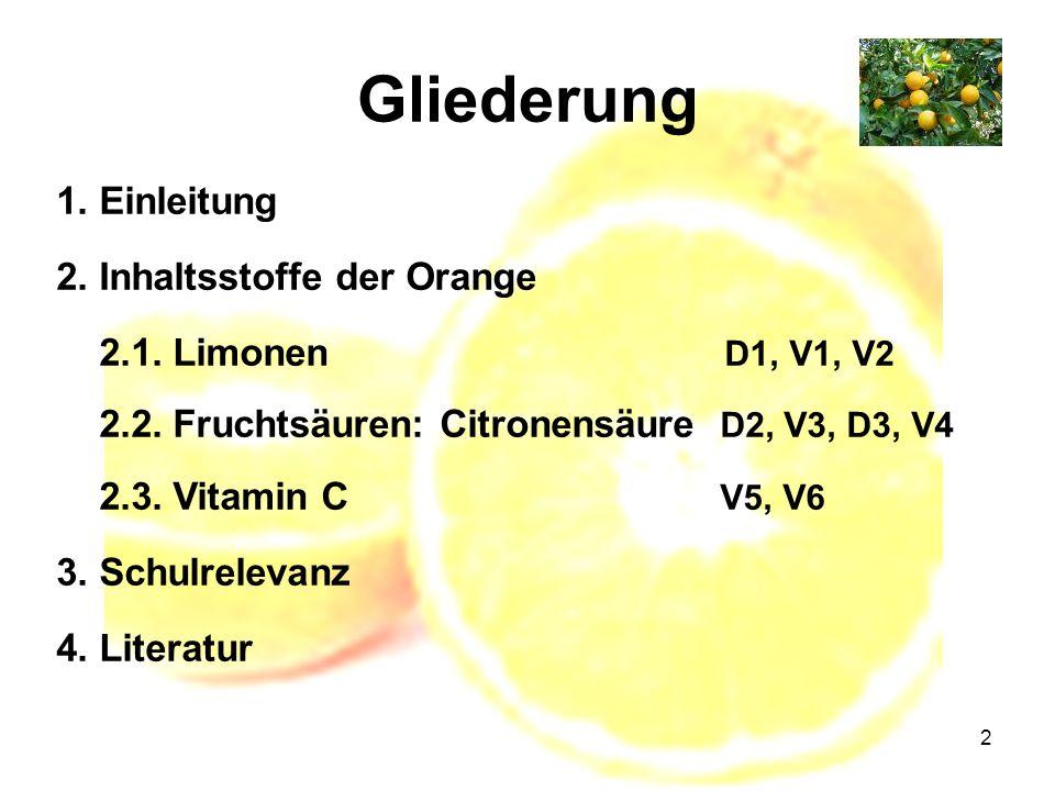 Gliederung 1. Einleitung 2. Inhaltsstoffe der Orange