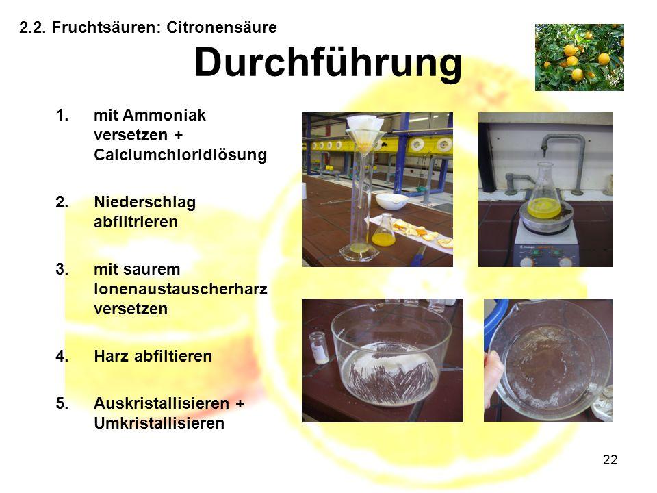 Durchführung 2.2. Fruchtsäuren: Citronensäure