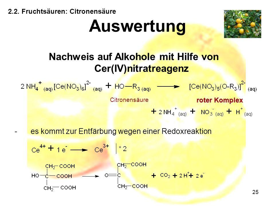 Nachweis auf Alkohole mit Hilfe von Cer(IV)nitratreagenz