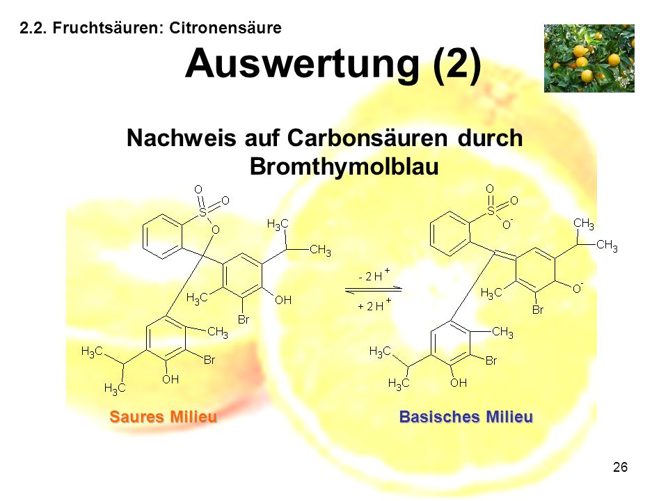 Nachweis auf Carbonsäuren durch Bromthymolblau