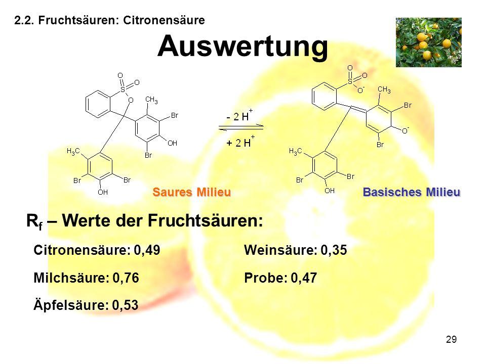 Auswertung Rf – Werte der Fruchtsäuren: Citronensäure: 0,49