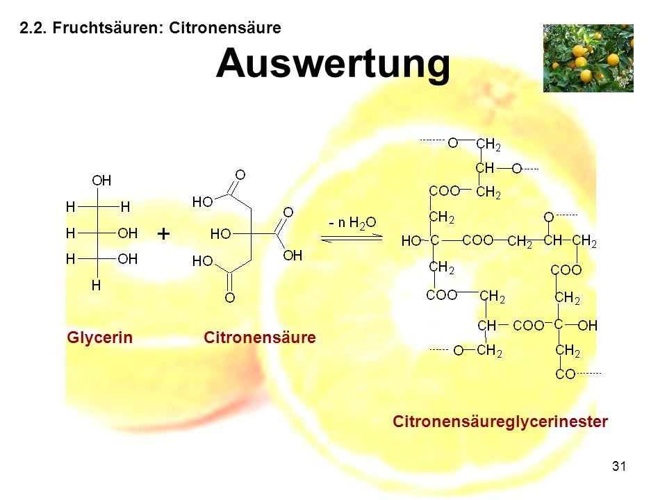 Auswertung 2.2. Fruchtsäuren: Citronensäure Glycerin Citronensäure