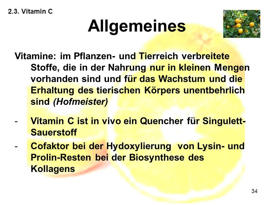 2.3. Vitamin C Allgemeines.