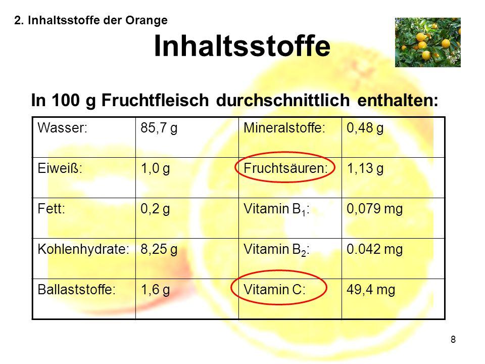 Inhaltsstoffe In 100 g Fruchtfleisch durchschnittlich enthalten: