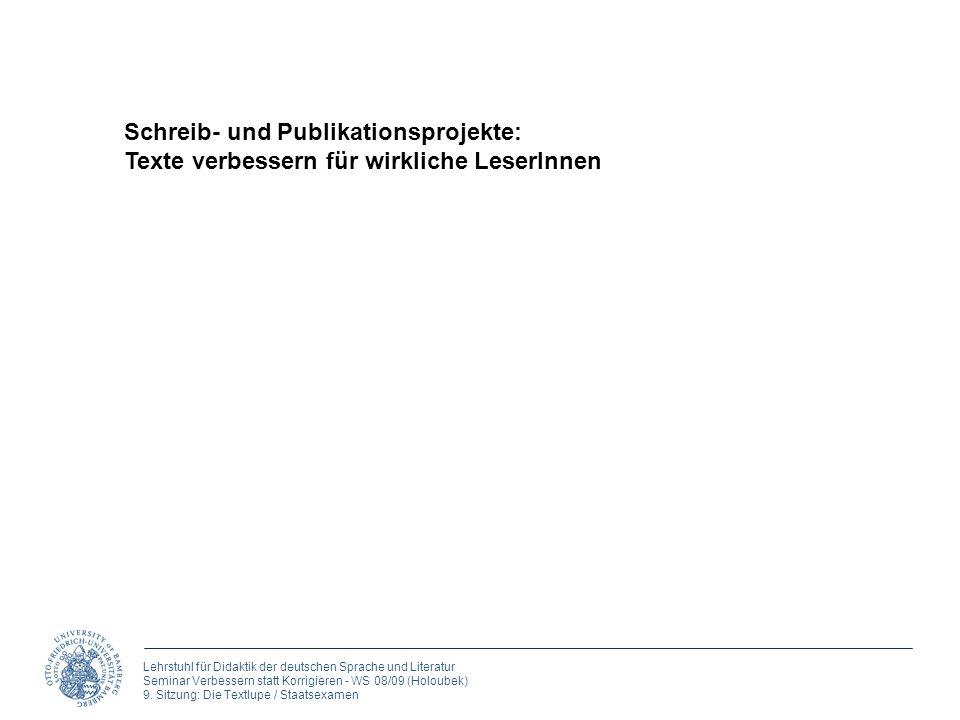 Schreib- und Publikationsprojekte: