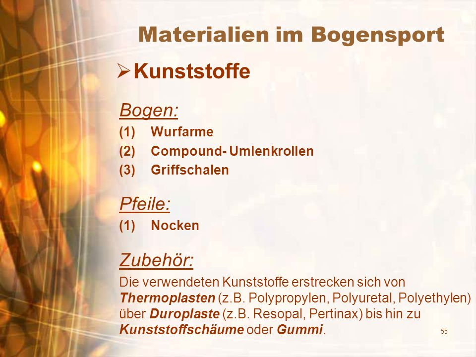 Materialien im Bogensport