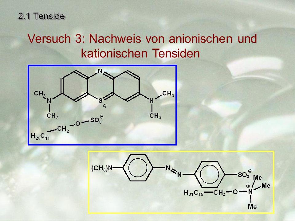 Versuch 3: Nachweis von anionischen und kationischen Tensiden