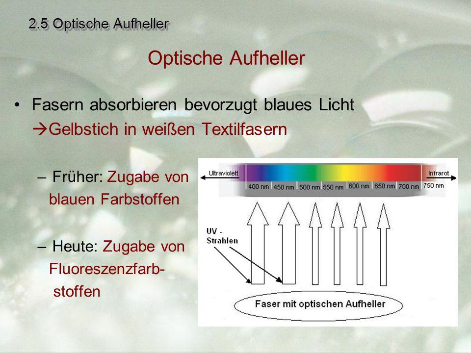 Optische Aufheller Fasern absorbieren bevorzugt blaues Licht
