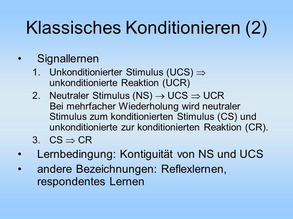 Klassisches Konditionieren (2)