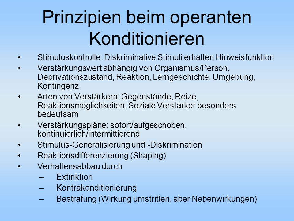 Prinzipien beim operanten Konditionieren