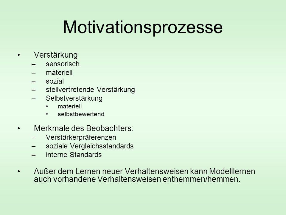 Motivationsprozesse Verstärkung Merkmale des Beobachters: