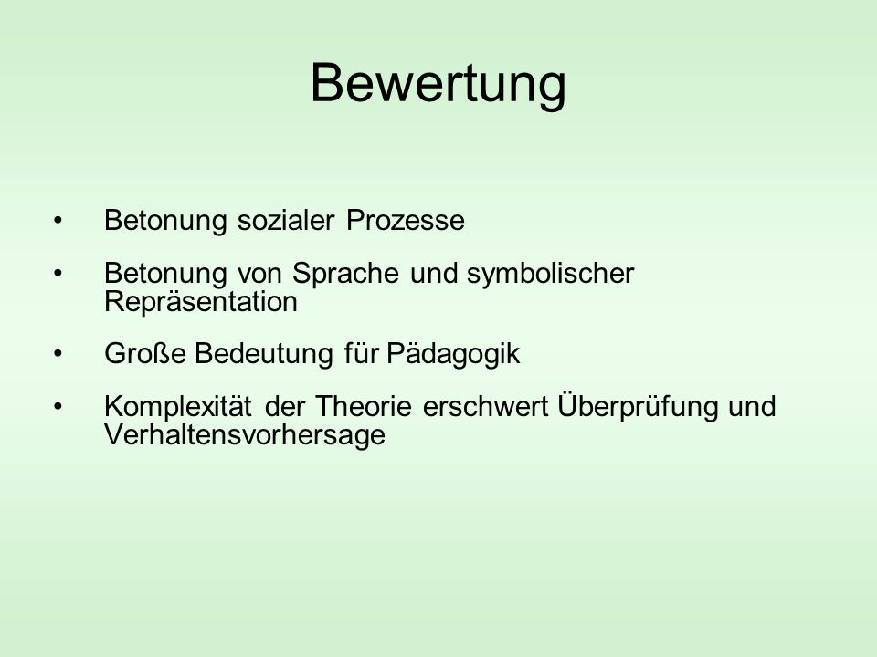 Bewertung Betonung sozialer Prozesse