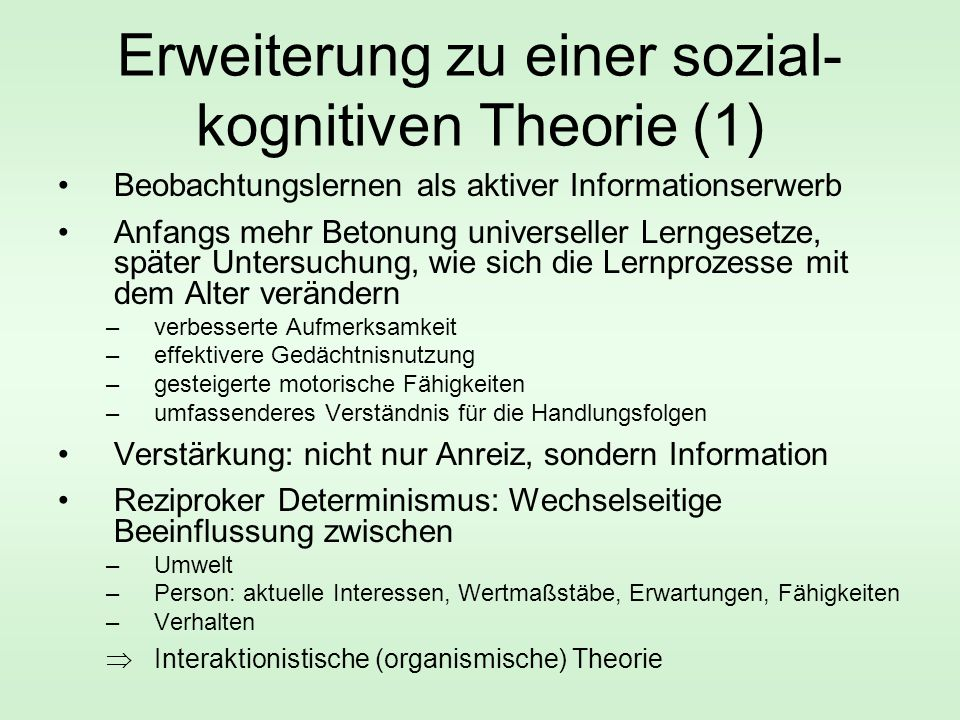 Erweiterung zu einer sozial-kognitiven Theorie (1)