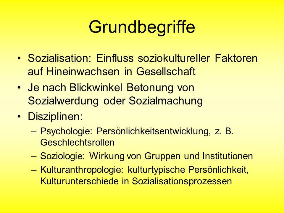 Grundbegriffe Sozialisation: Einfluss soziokultureller Faktoren auf Hineinwachsen in Gesellschaft.