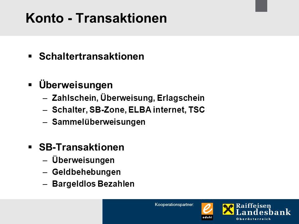 Konto - Transaktionen Schaltertransaktionen Überweisungen