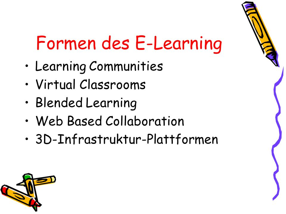 Formen des E-Learning Learning Communities Virtual Classrooms