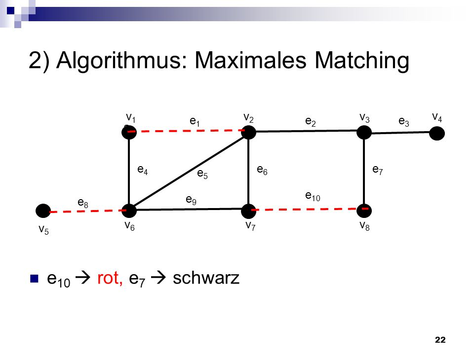 2) Algorithmus: Maximales Matching