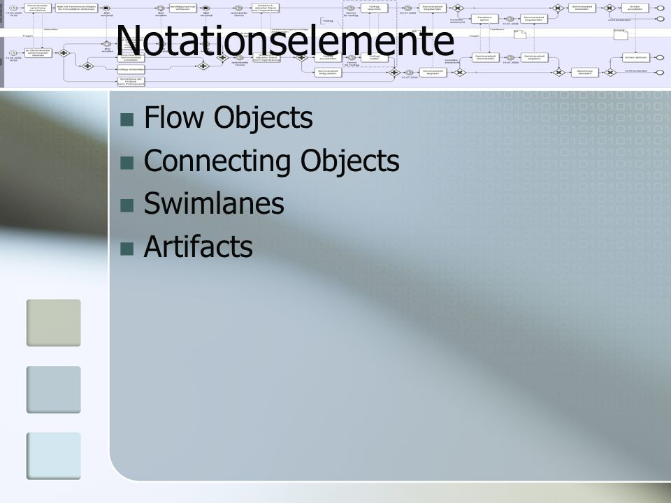 Notationselemente Flow Objects Connecting Objects Swimlanes Artifacts