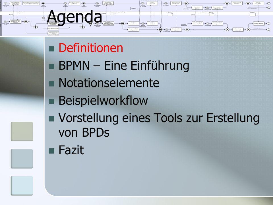 Agenda Definitionen BPMN – Eine Einführung Notationselemente