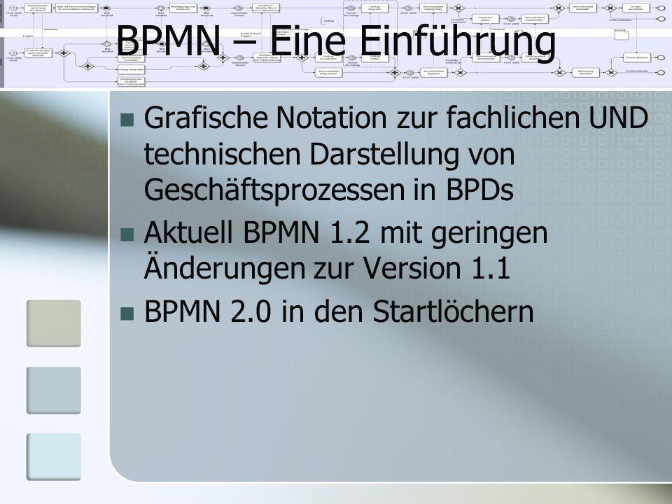 BPMN – Eine Einführung Grafische Notation zur fachlichen UND technischen Darstellung von Geschäftsprozessen in BPDs.