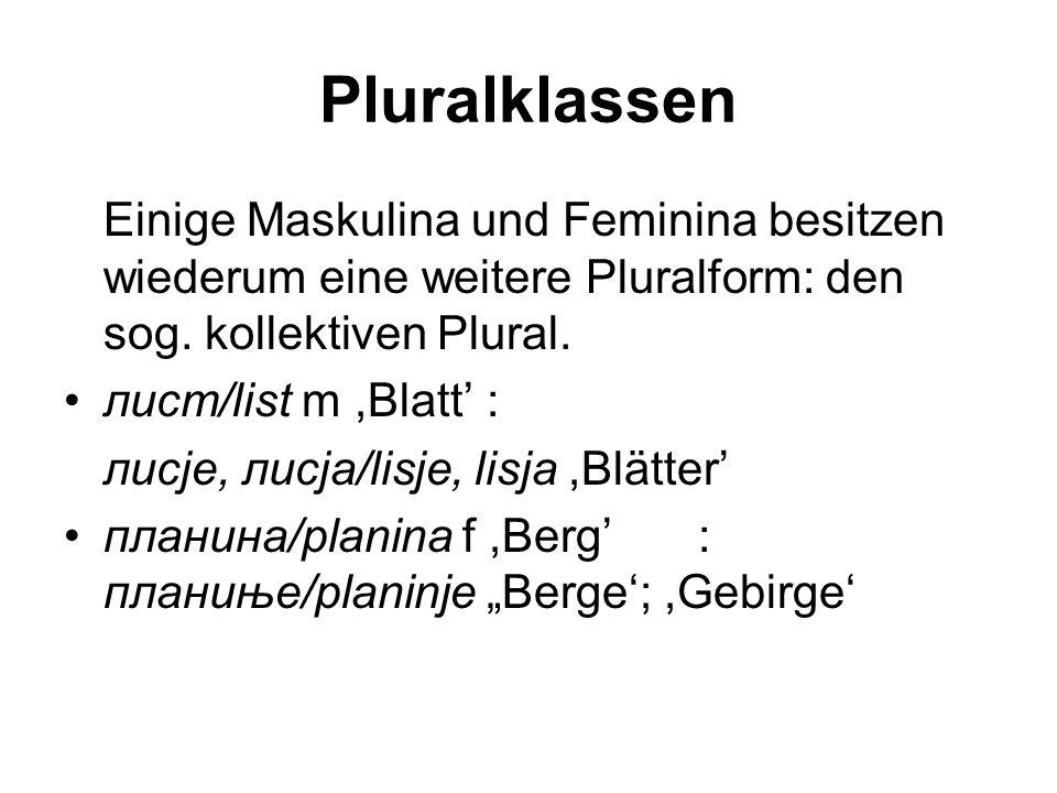 Pluralklassen Einige Maskulina und Feminina besitzen wiederum eine weitere Pluralform: den sog. kollektiven Plural.