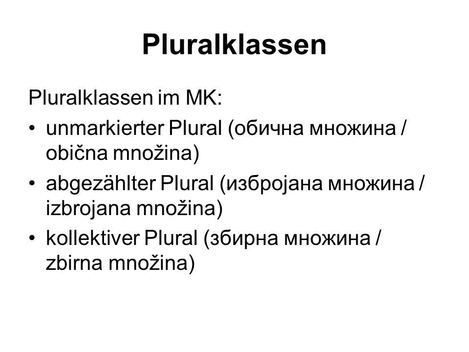Pluralklassen Pluralklassen im MK: